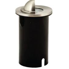 Hooded Round Stainless Steel Uplighter